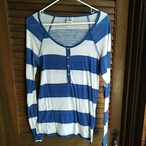 VS PINK Blue and White Striped Top